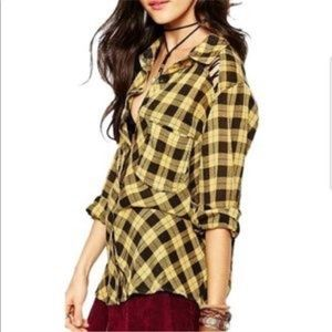 Free people | gauzy plaid lace up button down L